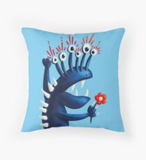 Funny Monster In Blue With Flower Throw Pillow