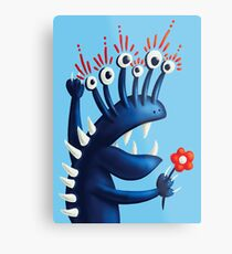 Funny Monster In Blue With Flower Metal Print