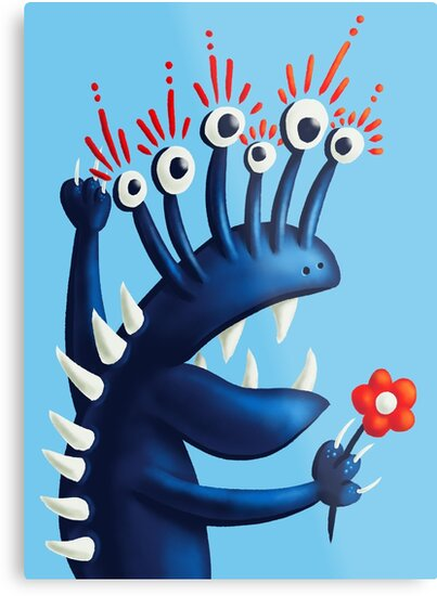 Funny monster in blue metal print at my Redbubble store