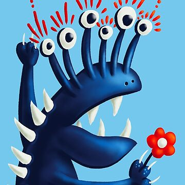 Funny Monster In Blue With Flower by azzza