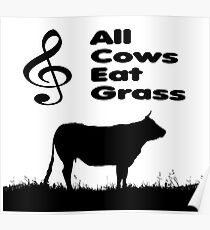 Music Mnemonic - All Cows Eat Grass Poster