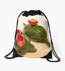 The turtle with lid set aside Drawstring Bag