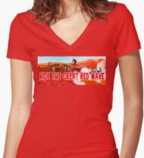 Ride The Great Red Wave Women's Fitted V-Neck T-Shirt