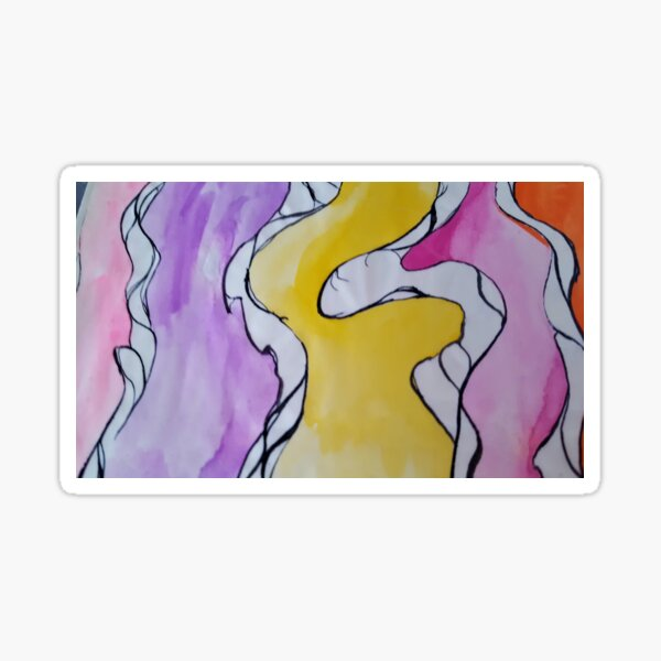 Rivers of watercolour psychedelia   Sticker