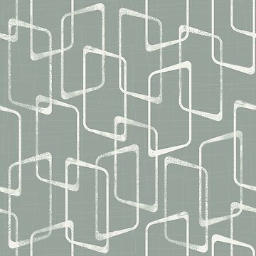 Gray Green Retro Geometric Pattern by itsjensworld