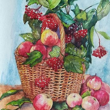 Basket full of apples and berries by Anthropolog