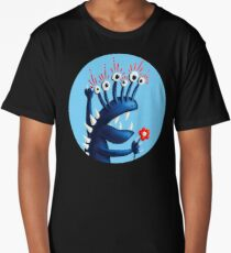 Funny Monster In Blue With Flower Long T-Shirt
