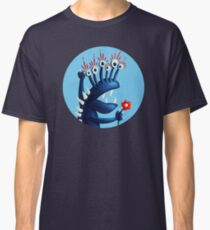 Funny Monster In Blue With Flower Classic T-Shirt