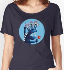 Funny Monster In Blue With Flower Women's Relaxed Fit T-Shirt