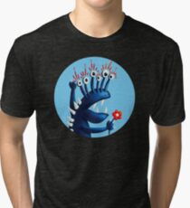Funny Monster In Blue With Flower Tri-blend T-Shirt