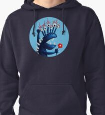 Funny Monster In Blue With Flower Pullover Hoodie