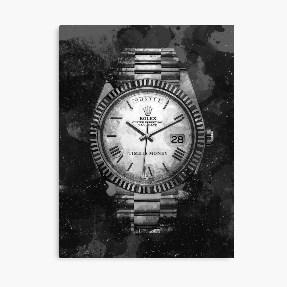 Motivierende Rolex Watch Hustle Leinwanddruck