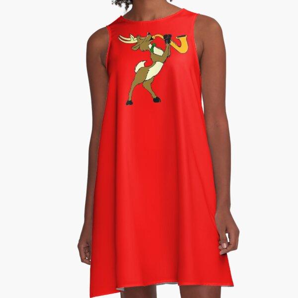 Reindeer And Saxophone A-Line Dress