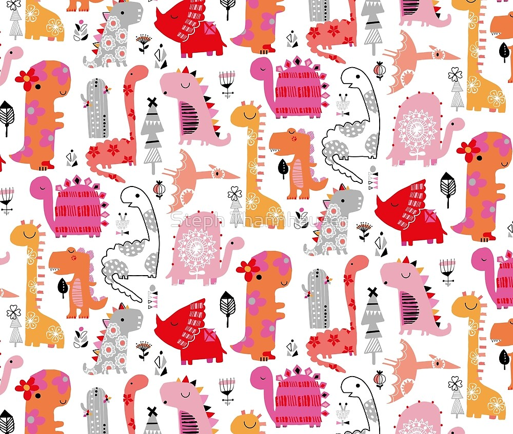 Pink and orange dino's by ric-racuk