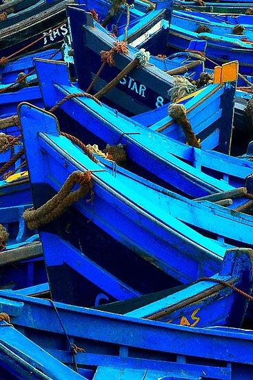 Blue Boats II - Essaouira, Morocco. by Didi Bingham