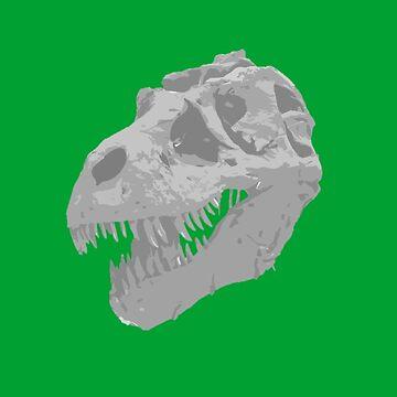 Dinosaur T-Rex Fossil Gray Drawing Art by oggi0