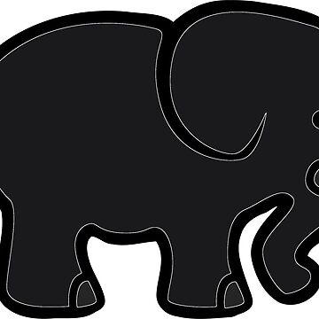 Black Elephant Cartoon Image by oggi0