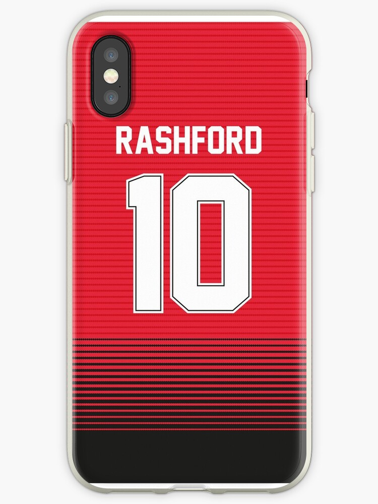 newest c1633 9a07c 'Rashford Manchester United Red & Black Home Shirt Jersey 2018 2019' iPhone  Case by Uberijk