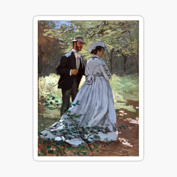 Claude Monet Bazille and Camille Sticker