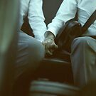 Gay wedding grooms hold hands in car c41 film fine art analog lgbt marriage photo by edwardolive