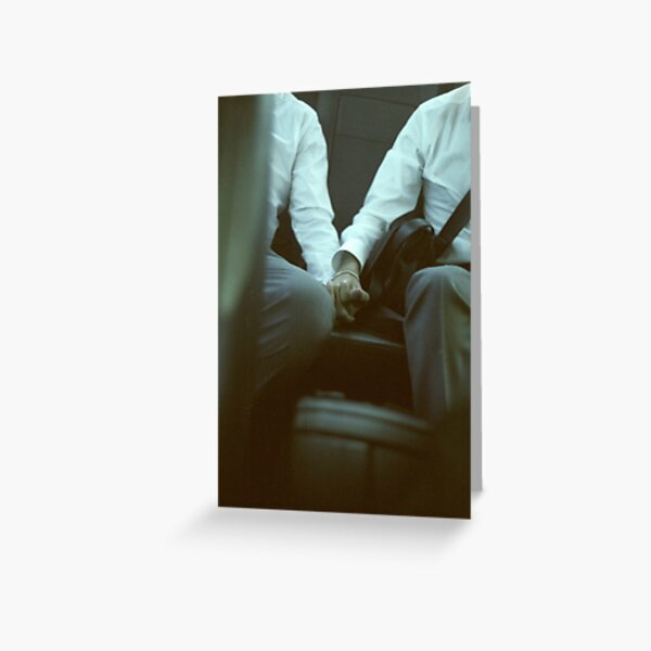 Gay wedding grooms hold hands in car c41 film fine art analog lgbt marriage photo Greeting Card