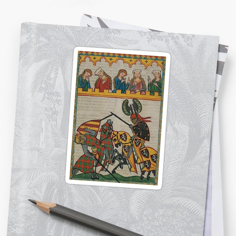 Medieval Tournament..Meister der Manessischen Liederhandschrift Sticker