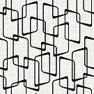 Reverse Soft Black and White Retro Geometric Pattern by itsjensworld