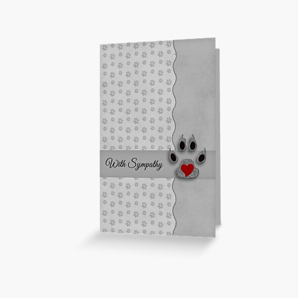 Pet Sympathy in Silver and Black Paw Prints and Heart Greeting Card