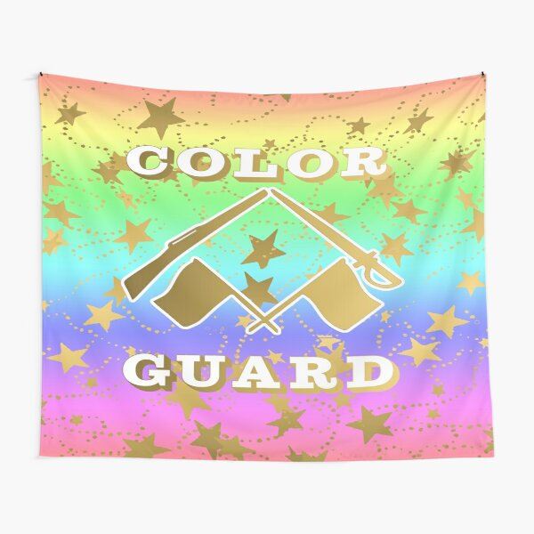 Color Guard Rainbow and Gold Stars Design Tapestry