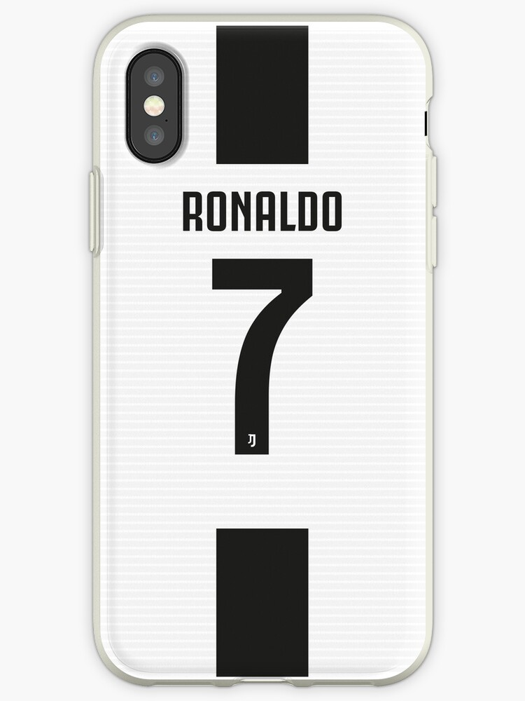 premium selection f0f2f 53287 'Cristiano Ronaldo Juventus White & Black Home Shirt Jersey 2018 2019'  iPhone Case by Uberijk