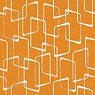 Retro Faded Orange Lino Print Geometric Pattern by itsjensworld