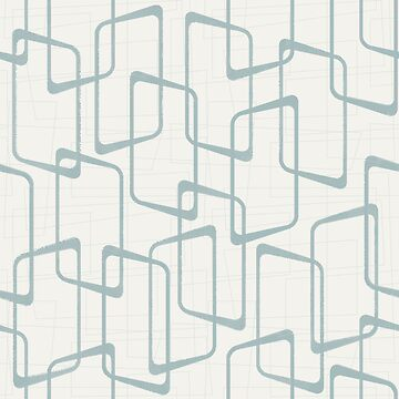 Reverse Dusty Blue Gray Retro Geometric Pattern by itsjensworld