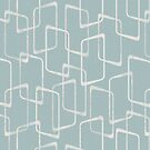 Dusty Blue Gray Lino Print Geometric by itsjensworld