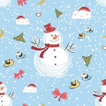 Christmas Elements Snowman Design Pattern by Digitalbcon