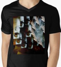 Multi-image surreal portrait of young lady in the dark in surrealist blue green tones Men's V-Neck T-Shirt