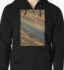 Airplane flying in sky wing in flight photo Zipped Hoodie