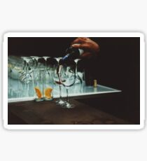 Drinks bar in party xpro cross processed c41 slide film analog photograph Sticker