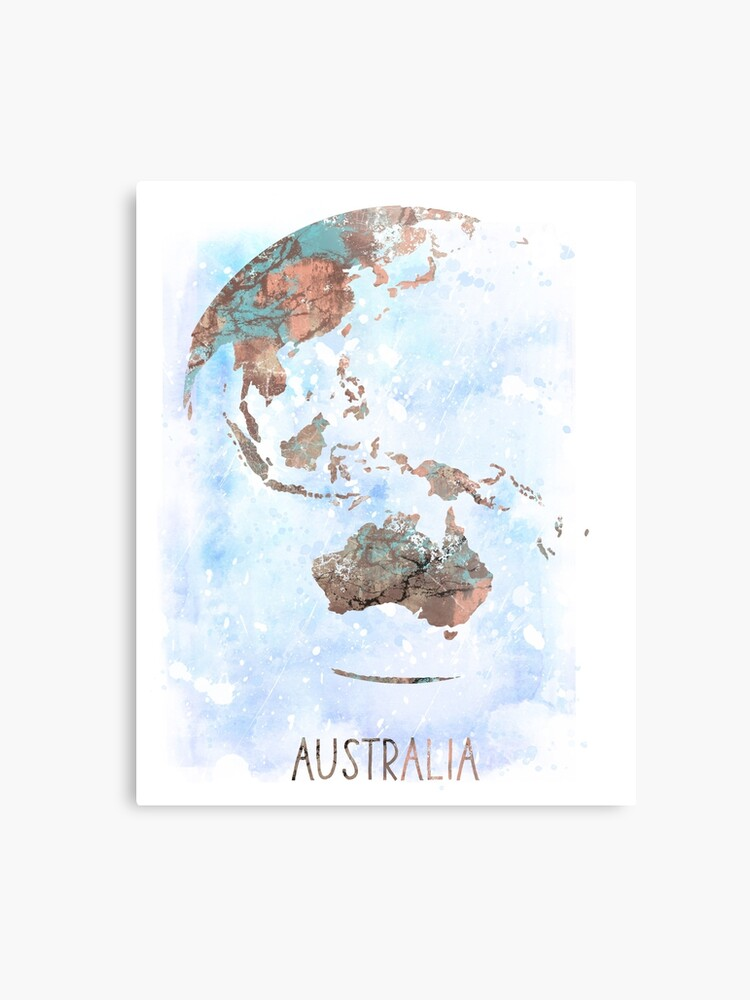 Australia Map Globe.Australia Globe Australia Earth Print Globe Australia Map Watercolor Australia Watercolor Globe Metal Print