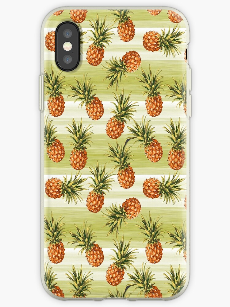 Green Orange Tropical Pineapple Fruit Pattern by LC Graphic Design Studio