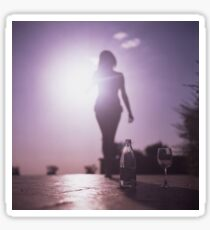 Young lady by pool color film Hasselblad medium format  fine art analog female nudes and erotica Sticker