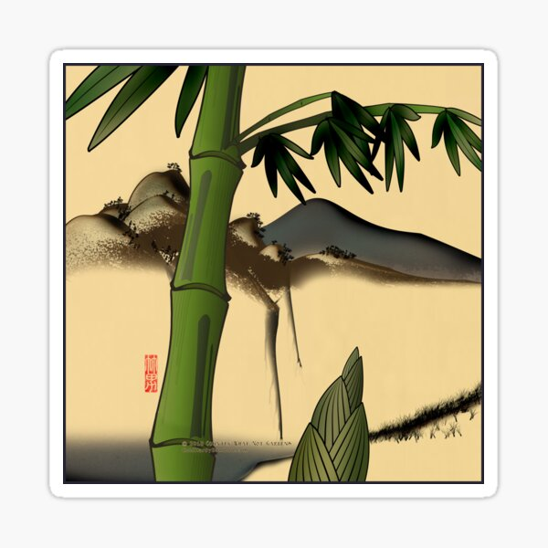 Bamboo with Mountains Sticker