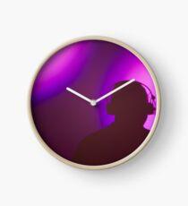 Rap hiphop dance music deejay dj in disco nightclub silhouette Clock
