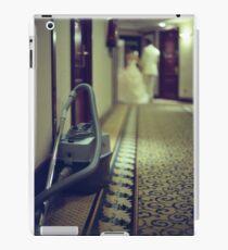 Wedding bride and groom and vacuum cleaner in hotel corridor iPad Case/Skin