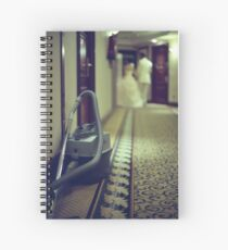 Wedding bride and groom and vacuum cleaner in hotel corridor Spiral Notebook