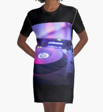 House dance music dj deejay turntable mixing desk nightclub party Ibiza Graphic T-Shirt Dress