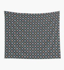 Floral On Blue Thai Pattern Wall Tapestry