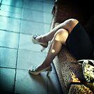 Sensual young lady short skirt high heels wedding c41 35mm analog photo by edwardolive