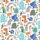 Green, blue and orange dino's by ric-racuk