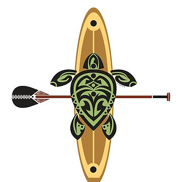Black & Green Tribal Turtle Stand-Up Wave Rider by srwdesign