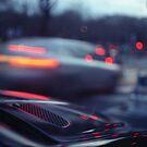 City lights cars in street at dusk Hasselblad medium format analog film by edwardolive